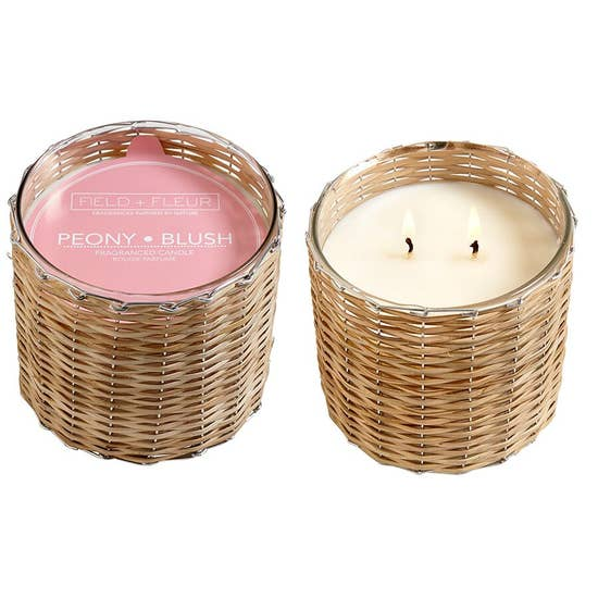 Field+Fleur - Peony Blush 2 Wick Handwoven Candle 12oz.