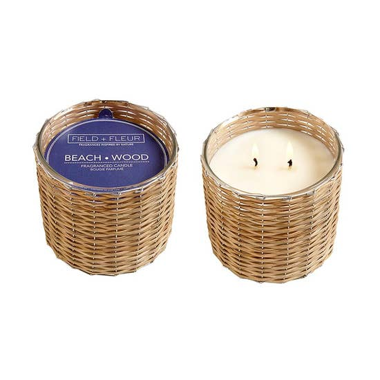Field+Fleur - Beach Wood 2 Wick Handwoven Candle 12oz.