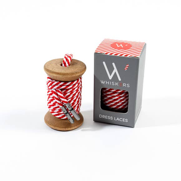 Whiskers Mens Shoe Laces - Red & White Stripe