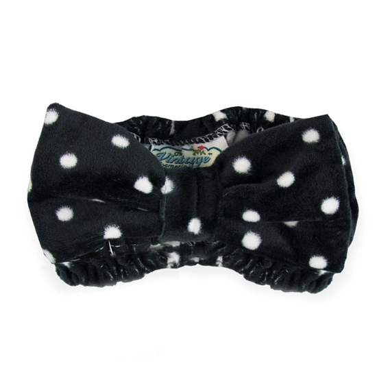 Olive Spa Headband - Black Polka Dot
