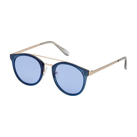 Blue Gem Sunglass - Metal Resin Combo Roundie