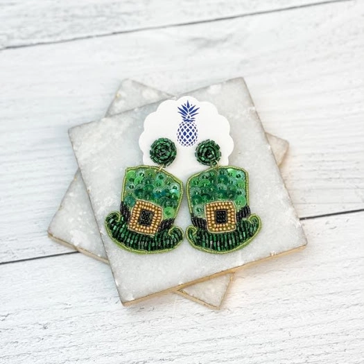 Leprechaun Hat Sequin & Beaded Statement Earrings
