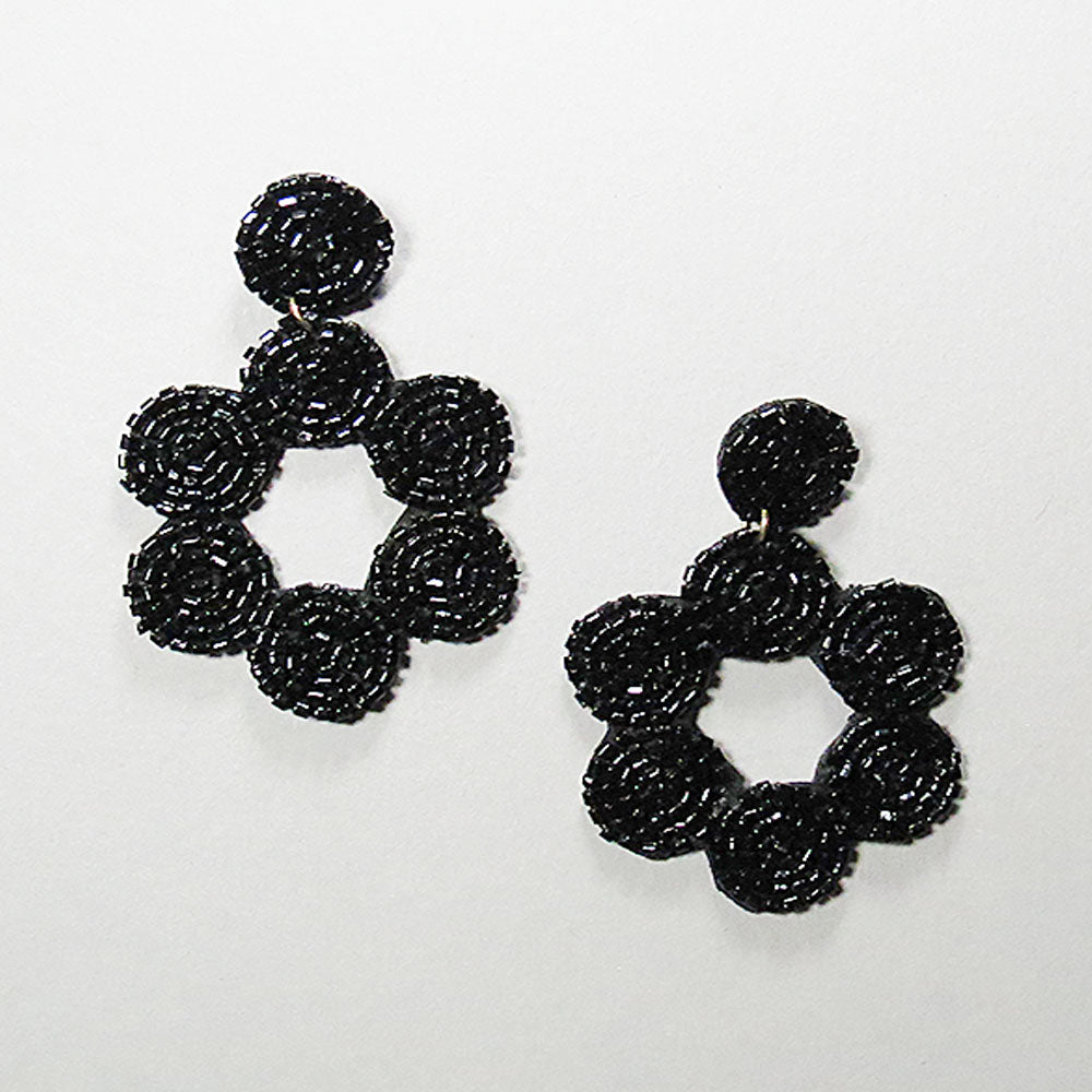 Ariel Beaded Earrings - Black