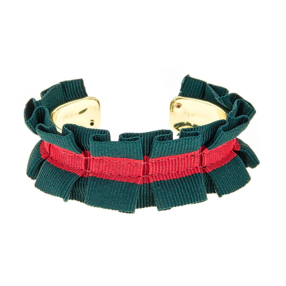 Ruffle Ribbon Cuff Bracelet - Green/Red