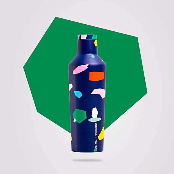 Corkcicle 16oz Canteen - Poketo Blue Confetti