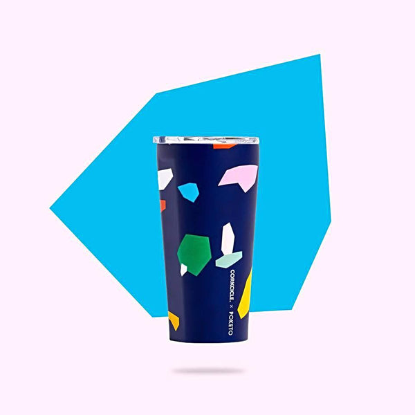 Corkcicle 16oz Tumbler - Poketo Blue Confetti