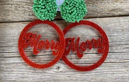 Round Red Glitter Merry Earrings w/ Green Poms