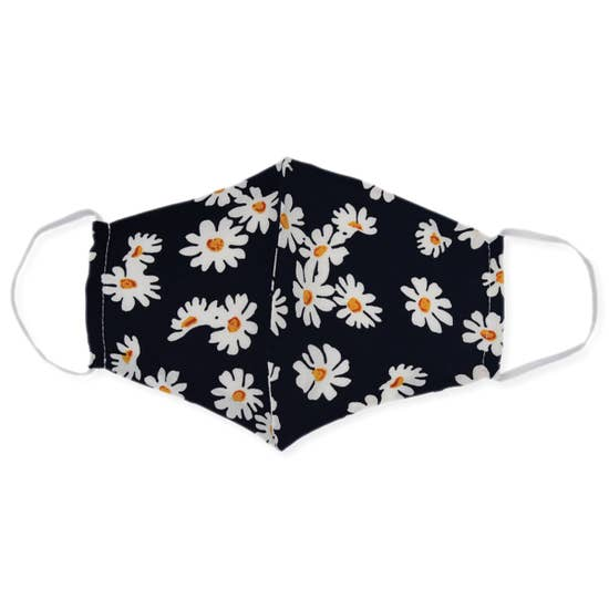 Stylish Face Mask - Black Daisy