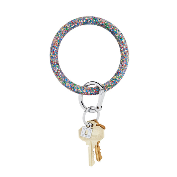 Big O Key Ring - Rainbow Confetti Silicone