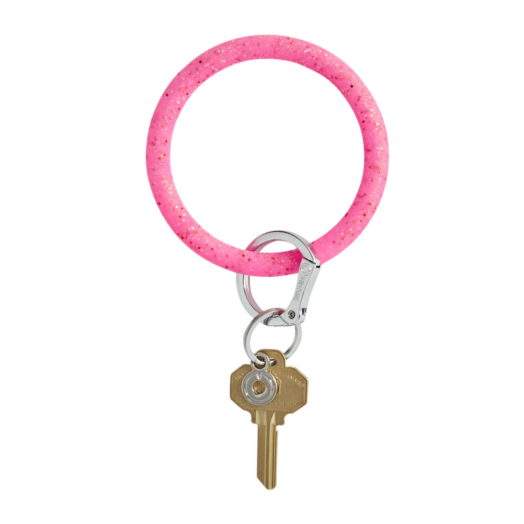 Big O Key Ring - Tickled Pink Confetti Silicone