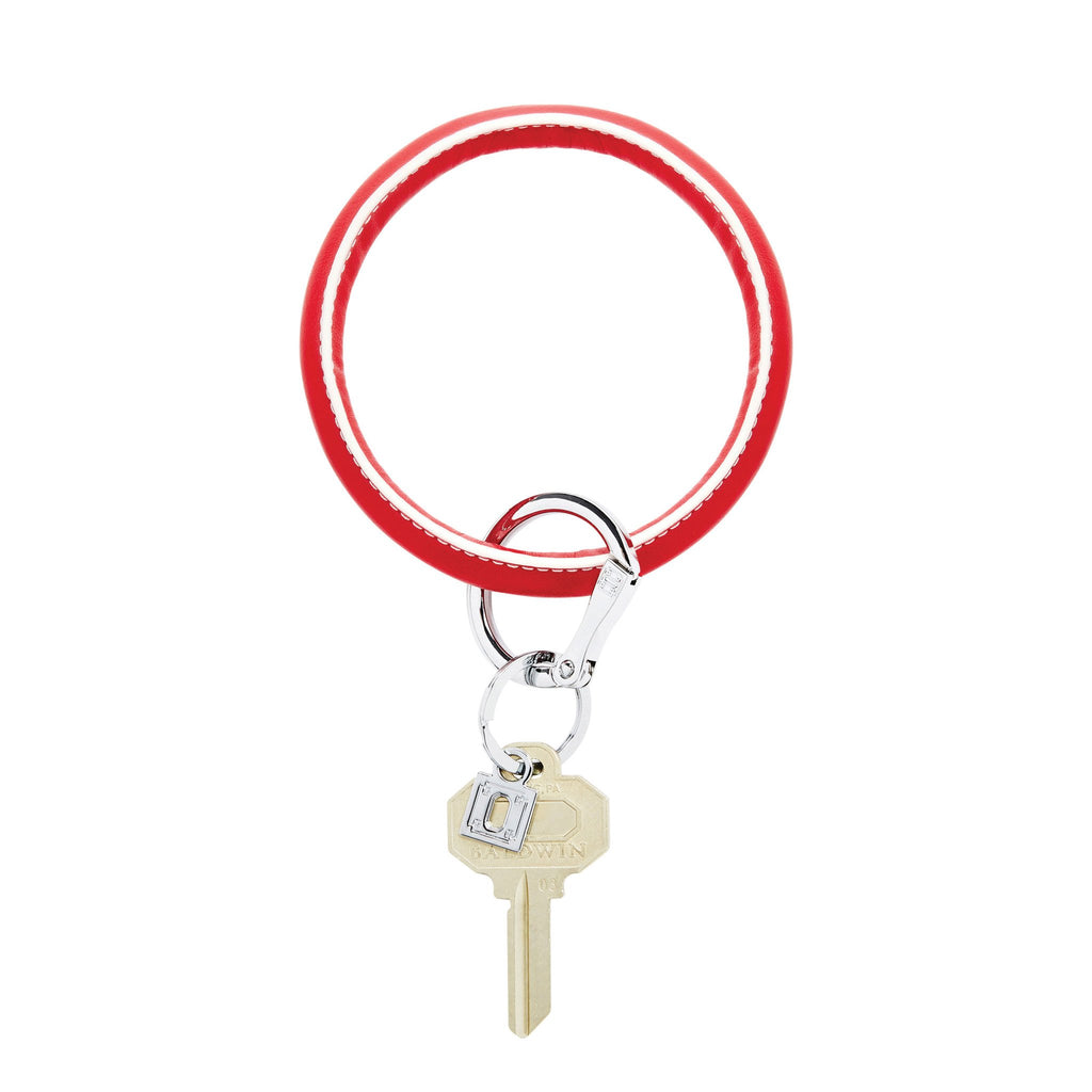 Big O Key Ring - White Cherry Leather