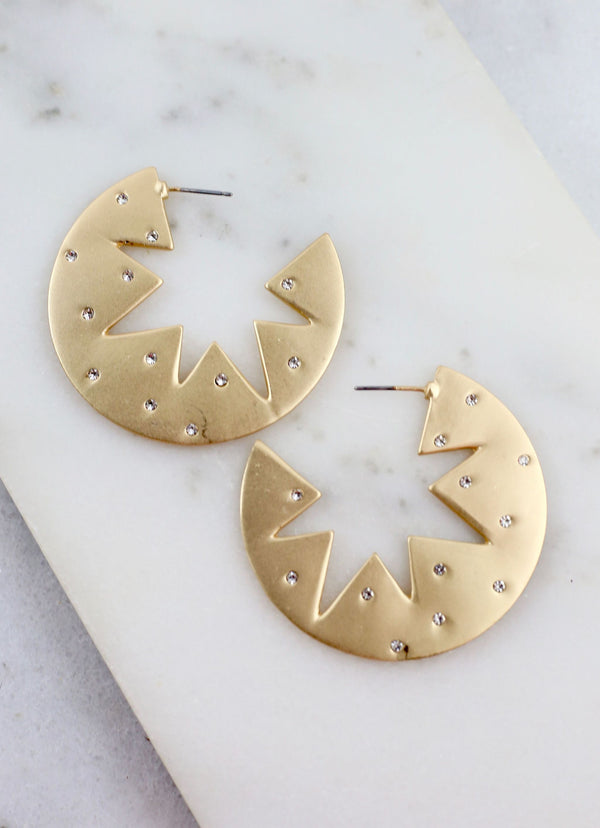 Dempsie Starburst Hoop Earrings - Gold