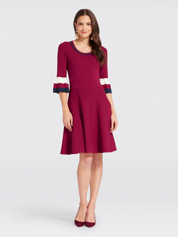 Draper James Stripe Bell Sleeve Sweater Dress - Deep Berry