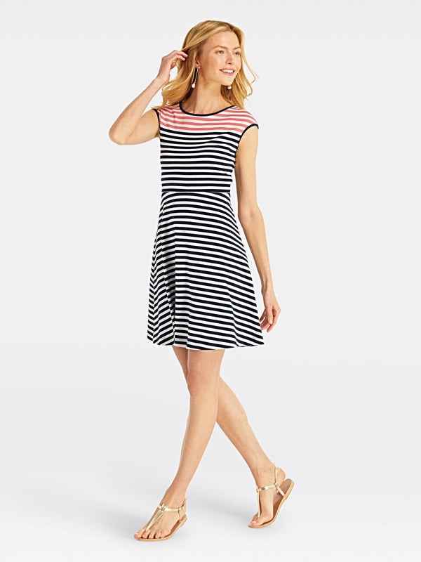 Draper James Stripe Ponte A-Line Dress - Nassau Navy