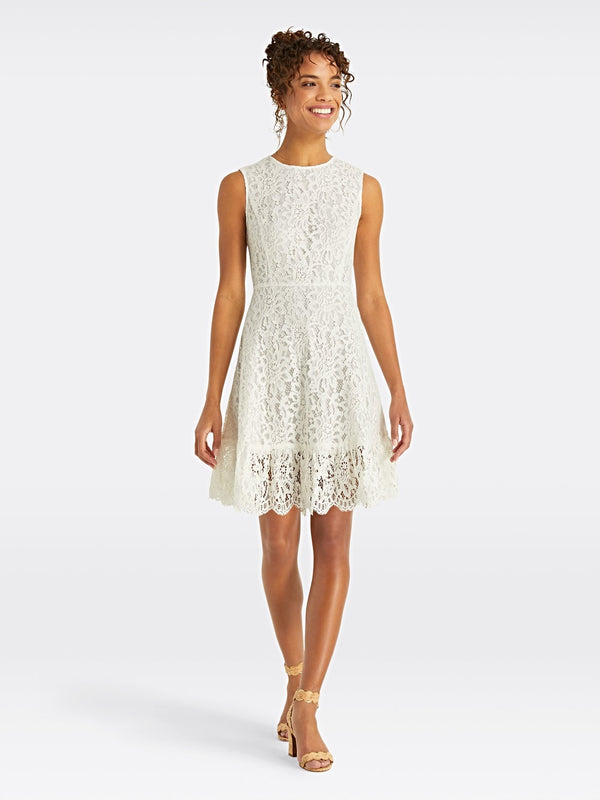 Draper James Lace A-Line Dress - Willow White