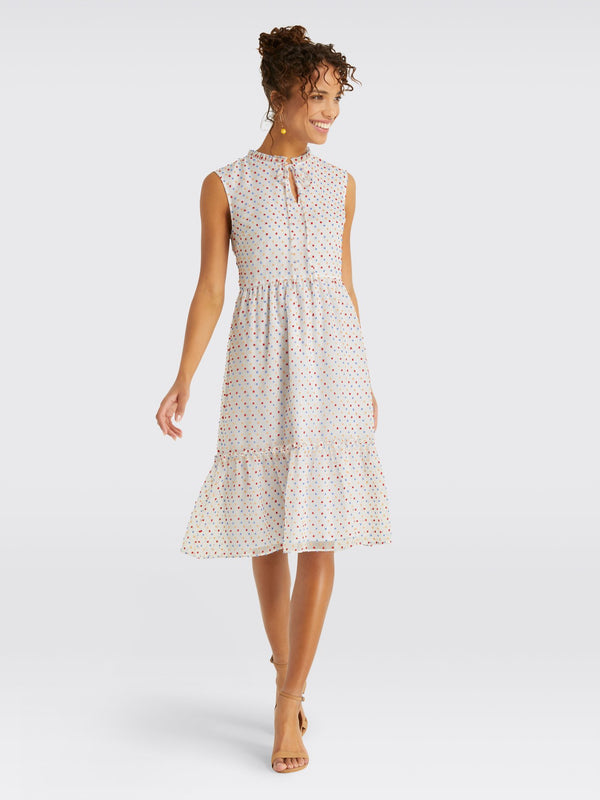 Draper James Swiss Dot Tiered Dress - Multi