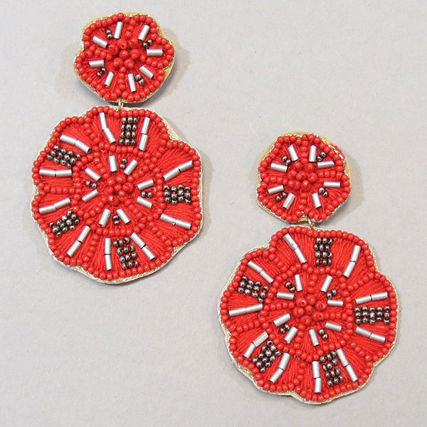 Caryn Beaded Flower Earring - Red