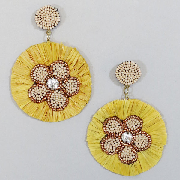 Adriana Beaded Earring  - Mustard
