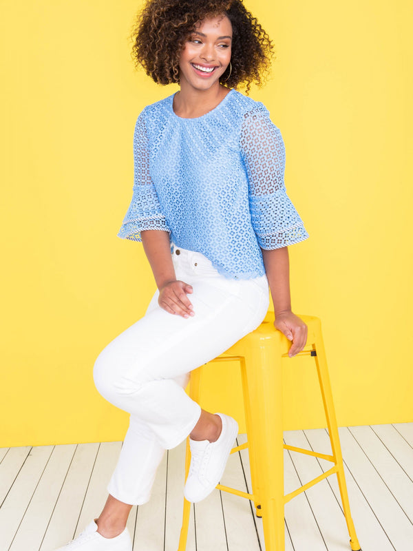 Draper James Gingham Lattice Double Bell Blouse - Bermuda Blue