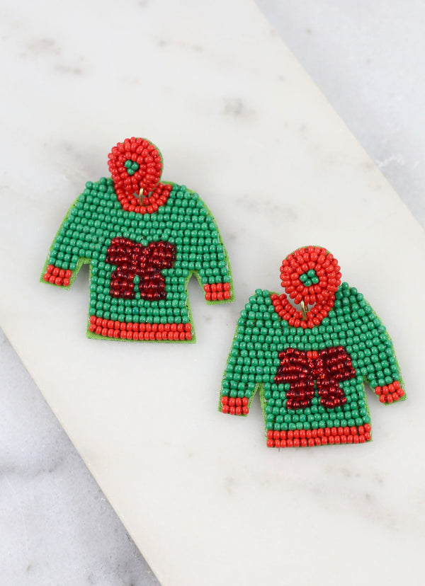 Bow Christmas Sweater Beaded Dangle Earrings - Green