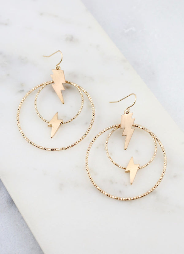 Aaron Lightning Double Hoop Earrings - Gold