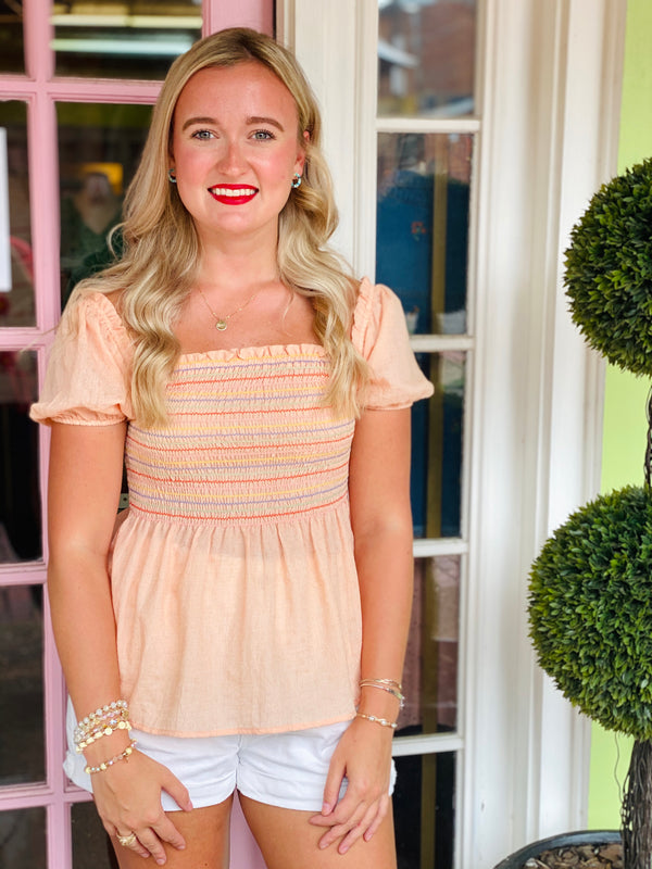 Lizzie Smocked Top - Coral/Multi