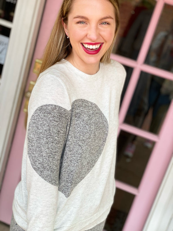 Cozy Heart Pullover - Light Heather Gray