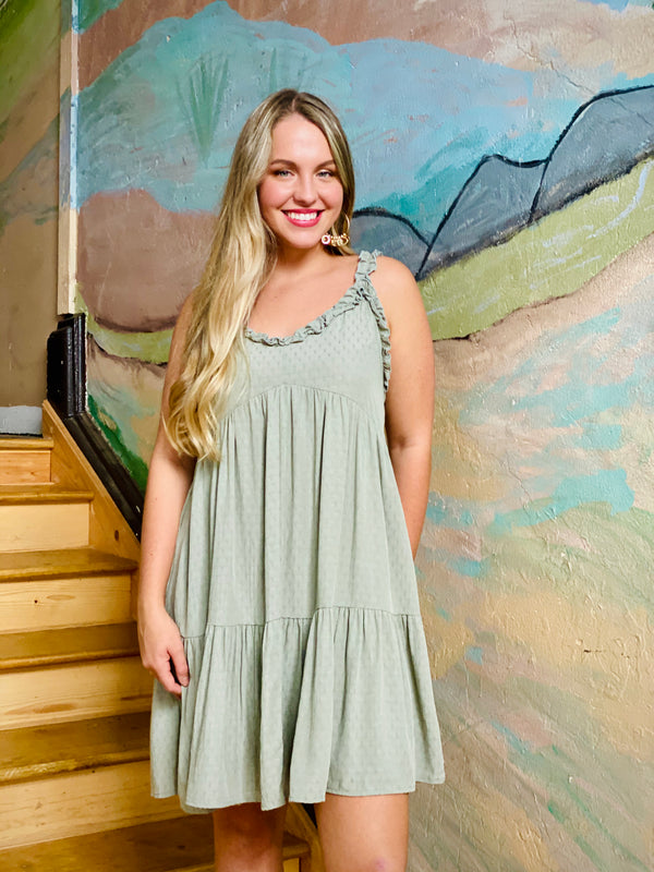 Willow Ruffle Swing Dress - Sage