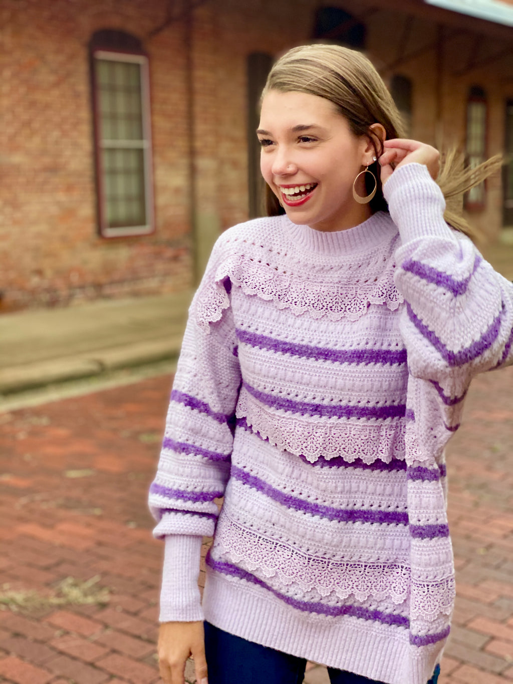 Molly Mixed-Media Sweater - Lilac