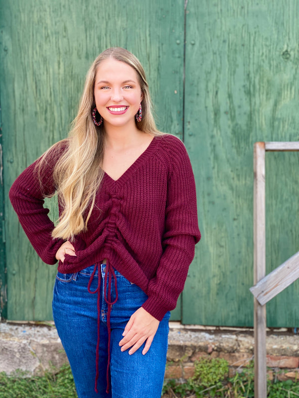 Tenille Cinch-Front Sweater - Wine