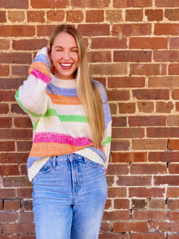 Mandy Bright Stripe Sweater - Multi