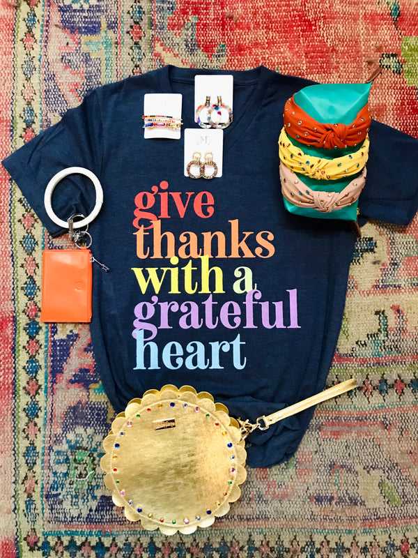 Macy May Graphic Tee - Give Thanks/Grateful Heart