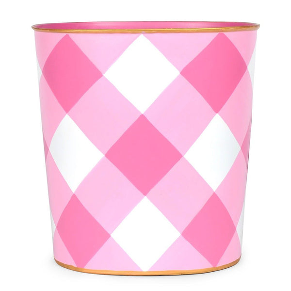 Jaye's Studio Oval Wastebasket - Pink Buffalo Plaid