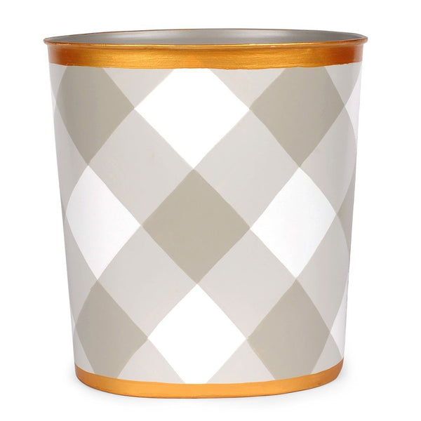 Jaye's Studio Oval Wastebasket - Taupe Buffalo Plaid