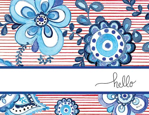 Kris 10 Notecard Set - Blue Medallion