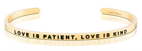 MantraBand Love Is Patient, Love Is Kind Bracelet - Gold