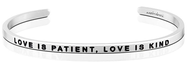 MantraBand Love Is Patient, Love Is Kind Bracelet - Silver