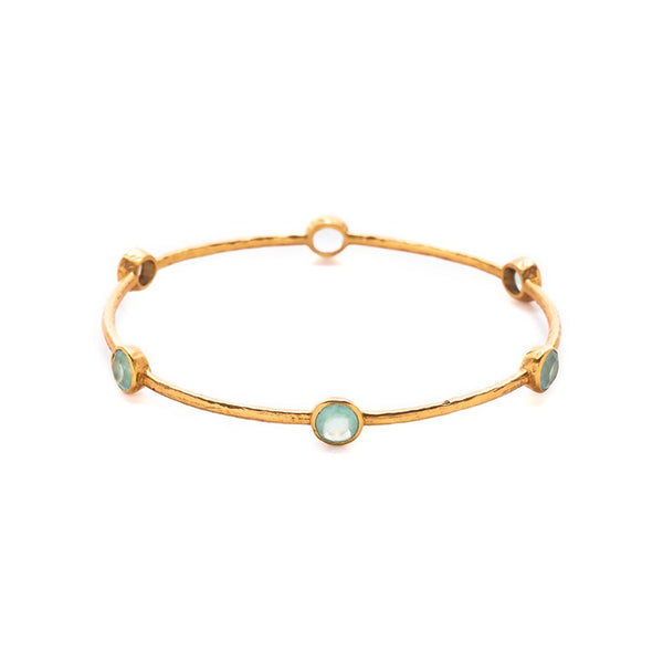 Julie Vos - Milano 6 Stone Aqua Chalcedony Bangle