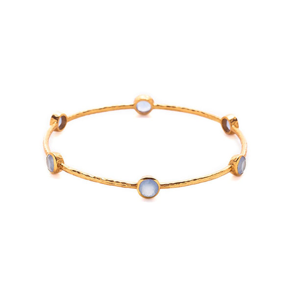 Julie Vos Milano 6 Stone Bangle - Chalcedony Blue