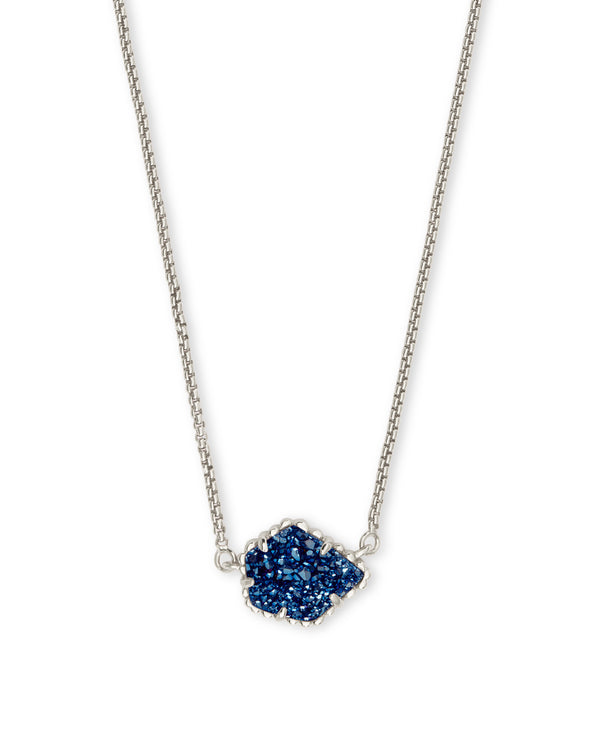 Kendra Scott Tess Necklace - Blue Drusy & Silver