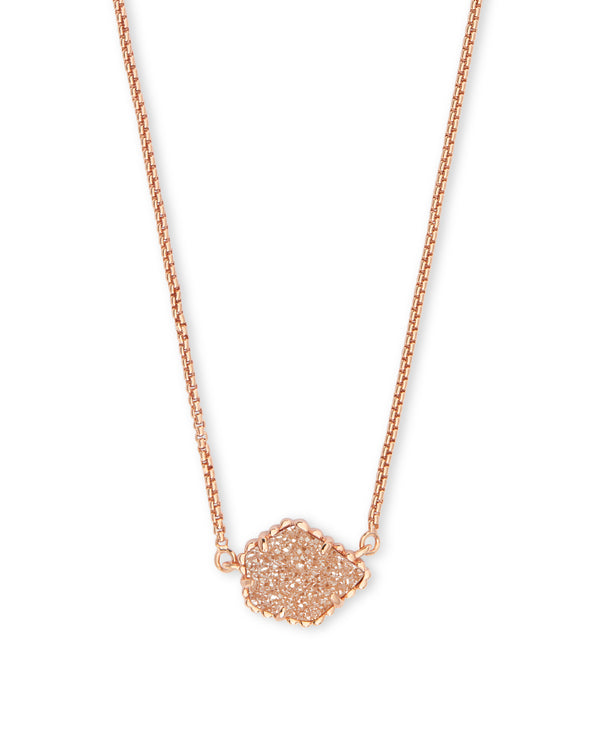 Kendra Scott Tess Necklace - Sand Drusy & Rose Gold