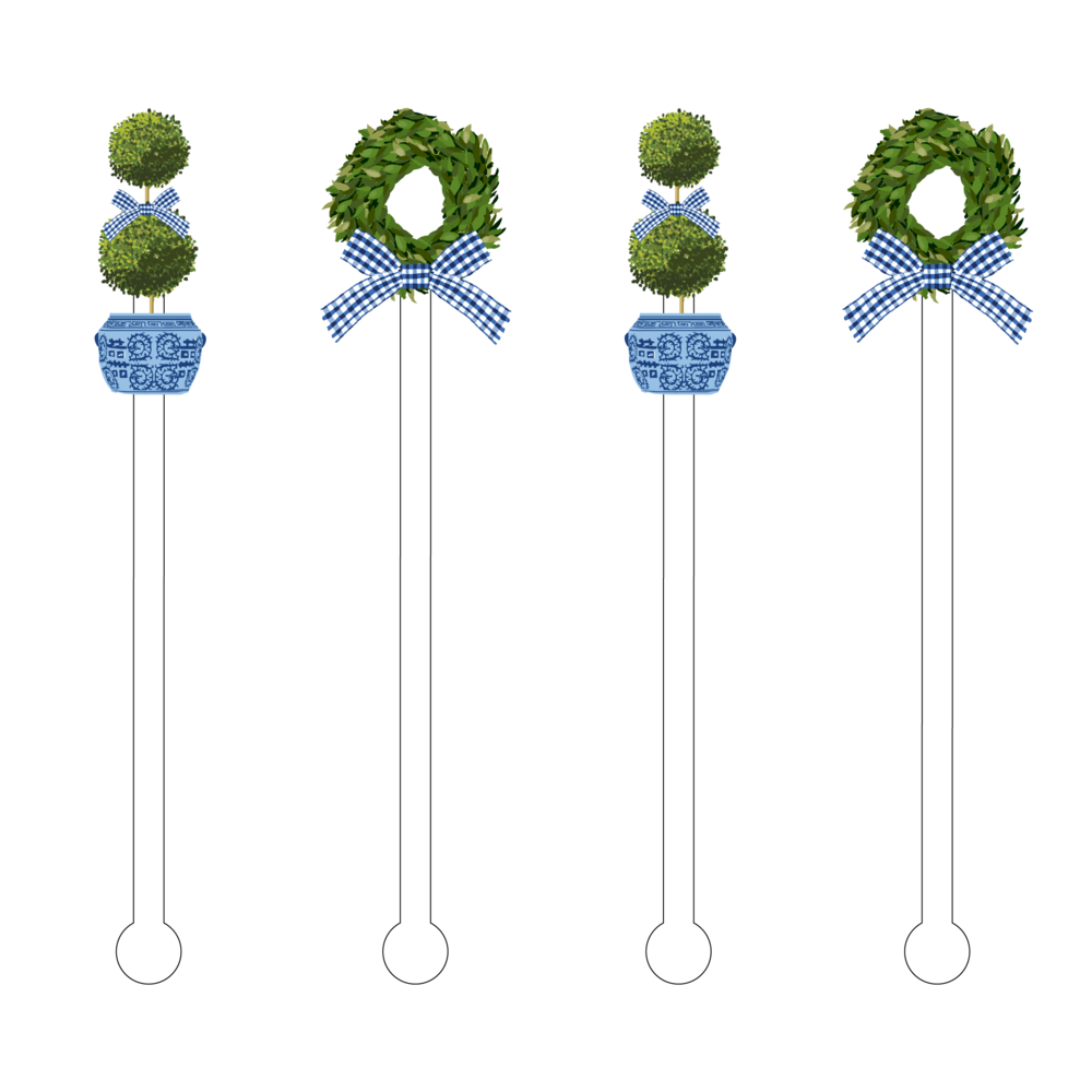 Acrylic Sticks Set of 4 - Greenery & Gingham