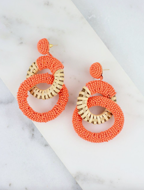 Duke Double Ring Earring - Orange