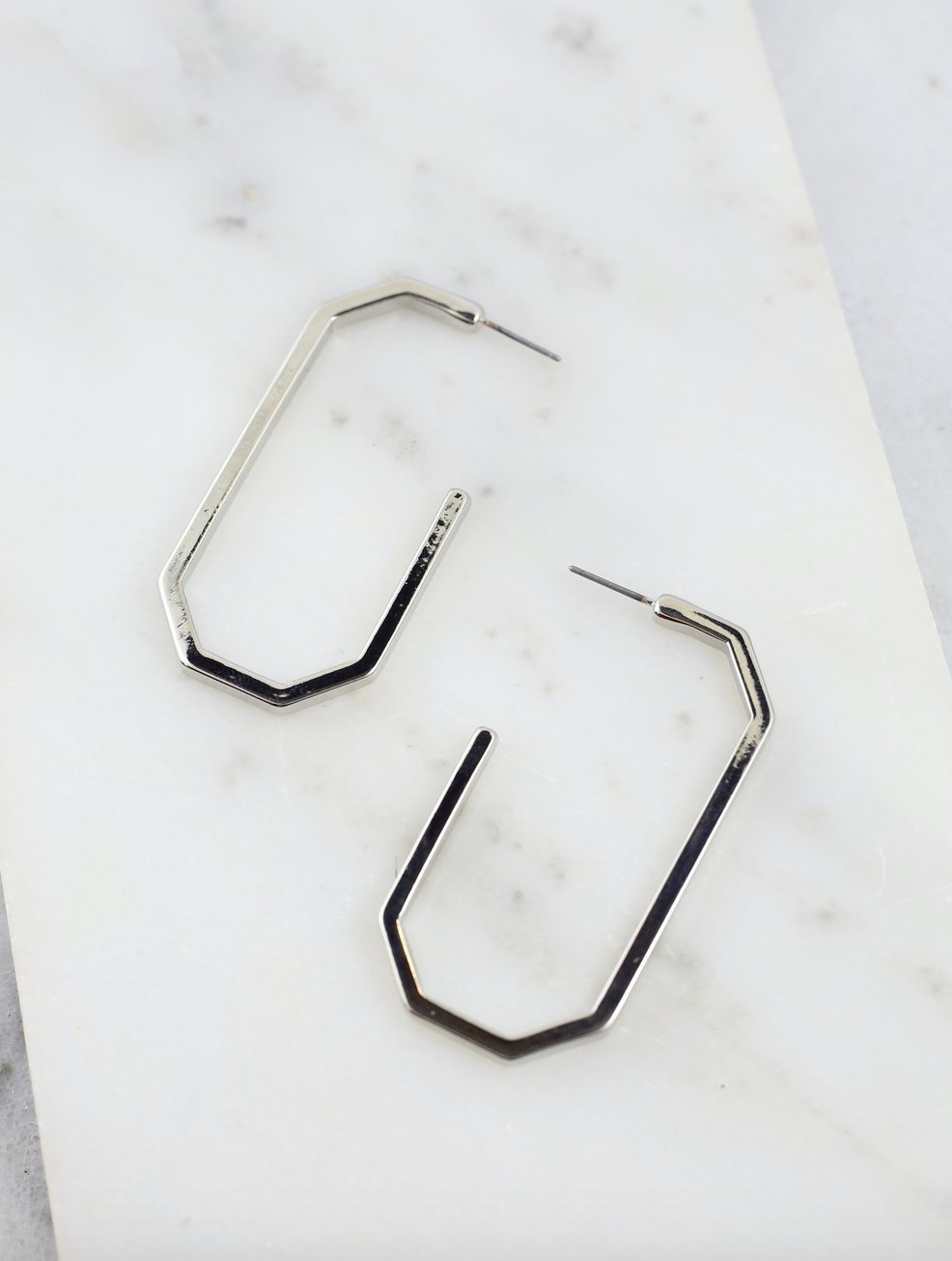 Davie Geometric Hoop Earring - Silver