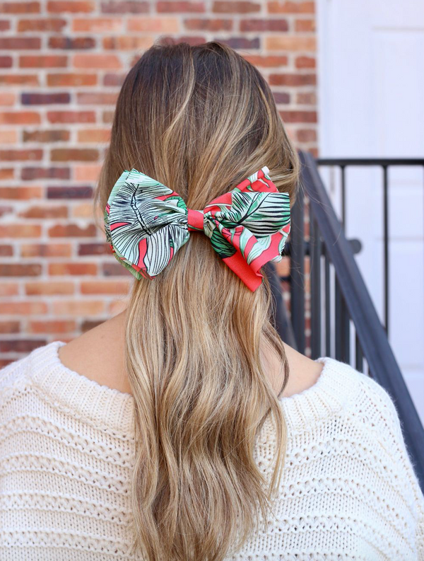 Bow Barrette - Pansy Palm