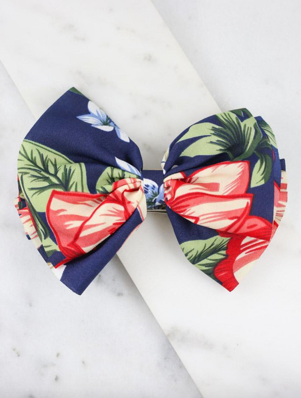 Bow Barrette - Cora Floral Navy