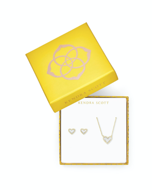 Kendra Scott Ari Heart Necklace & Earrings Gift Set - Gold/Ivory Mother Of Pearl
