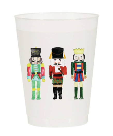 Watercolor Reusable Christmas Cups, Set of 10 - Nutcrackers