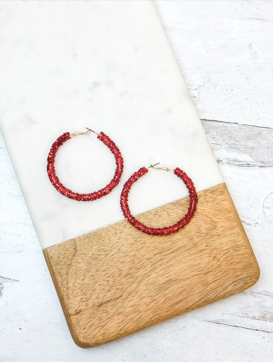 Jovie Glitter Hoop Earrings - Red