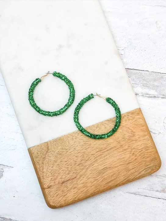 Jovie Glitter Hoop Earrings - Green